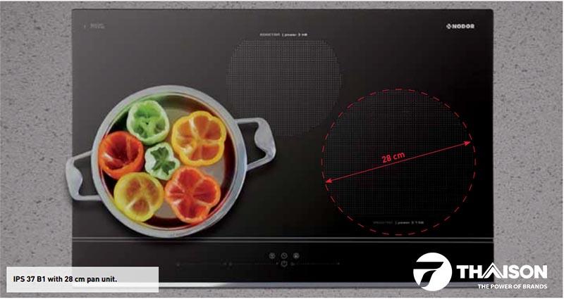 Bếp có công suất 7.400W và 02 vòng từ siêu lớn 28cm