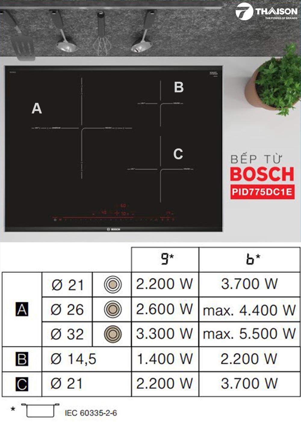 Công suất và chế độ PowerBoost của bếp từ Bosch PID775DC1E.