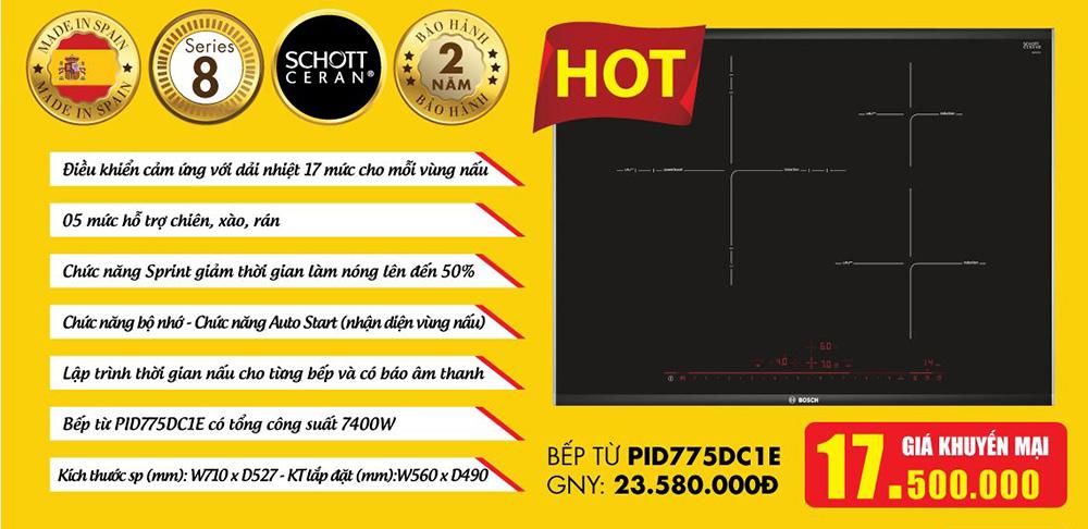Báo giá Bếp từ Bosch PID775DC1E Serie 8 nhập khẩu.