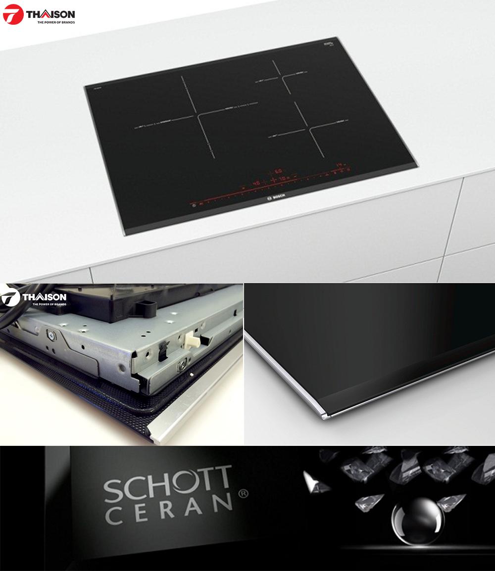 Chi tiết góc cạnh, mặt kính bếp từ Bosch PID775DC1E.