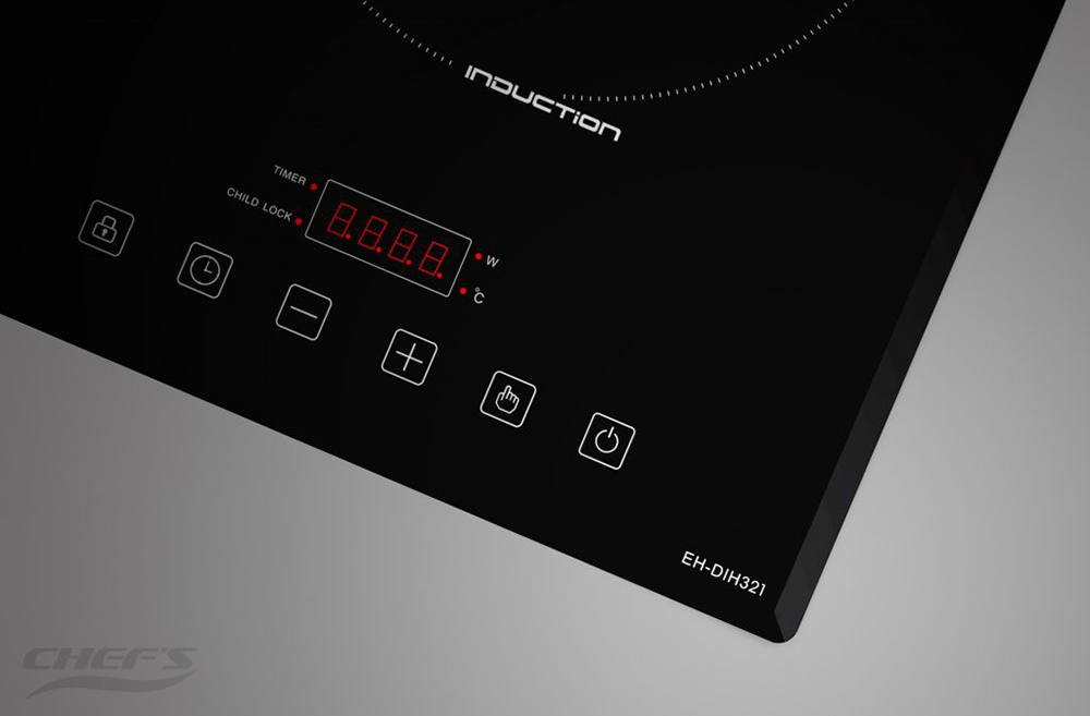 Bảng điều khiển đơn giản của bếp từ đôi Chefs EH-DIH321.