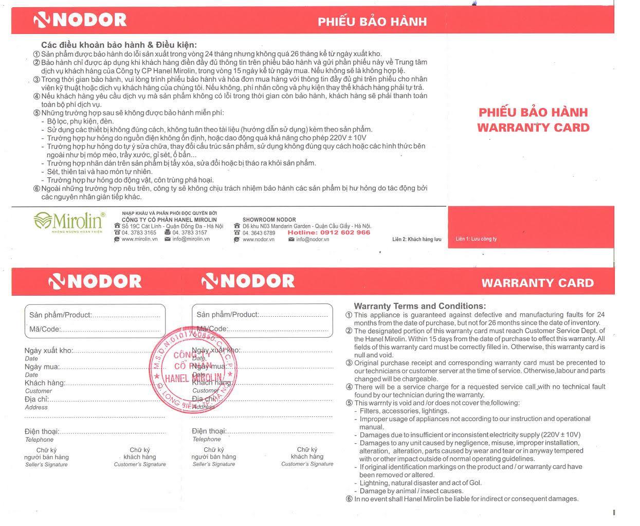 Bảo hành bếp từ Nodor