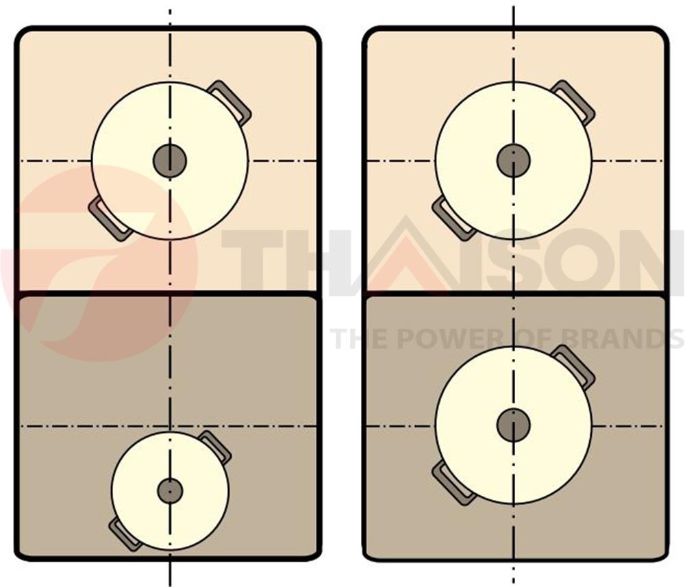 Hai vùng nấu độc lập trên bếp Bosch PXY675DC1E.