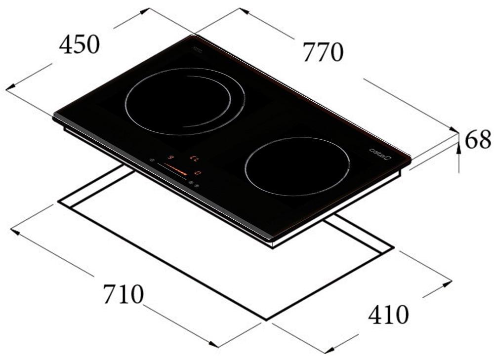 Kích thước kỹ thuật bếp từ Cata IB – 772.
