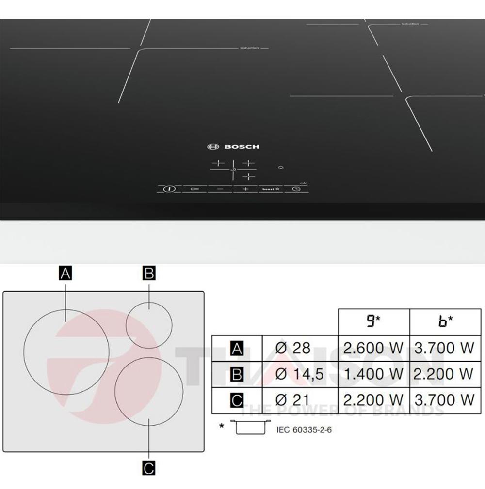 Bảng điều khiển và công suất từng vùng nấu bếp từ Bosch PUJ631BB2E.