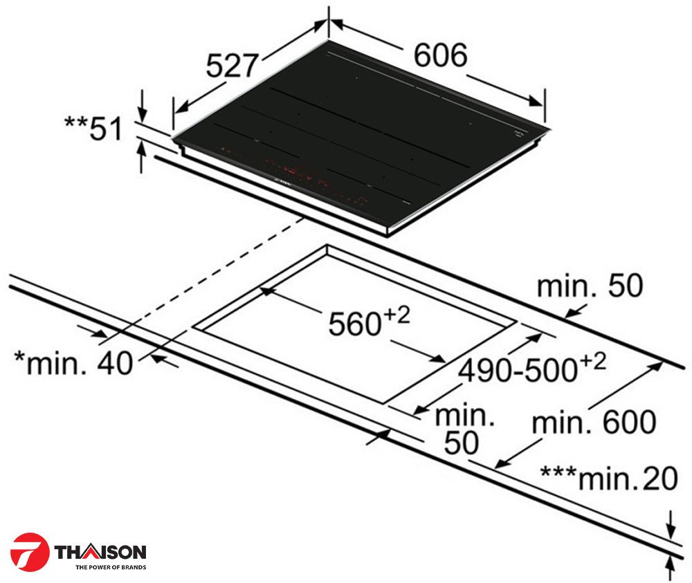 Kích thước lắp đặt bếp từ Bosch PXY675DC1E.