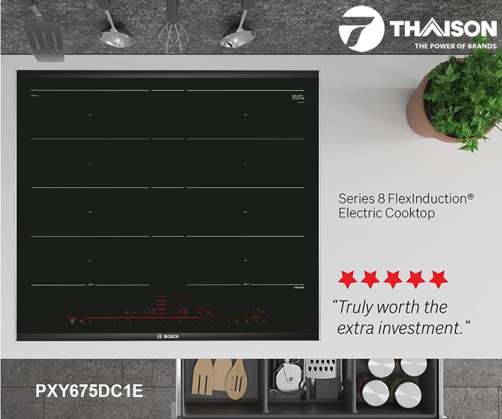 Đánh giá bếp từ đa điểm Bosch PXY675DC1E.