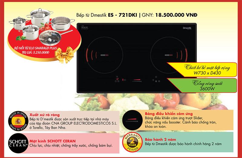 Bếp từ D'mestik ES - 721DKI cũng là một lựa chọn xứng đáng