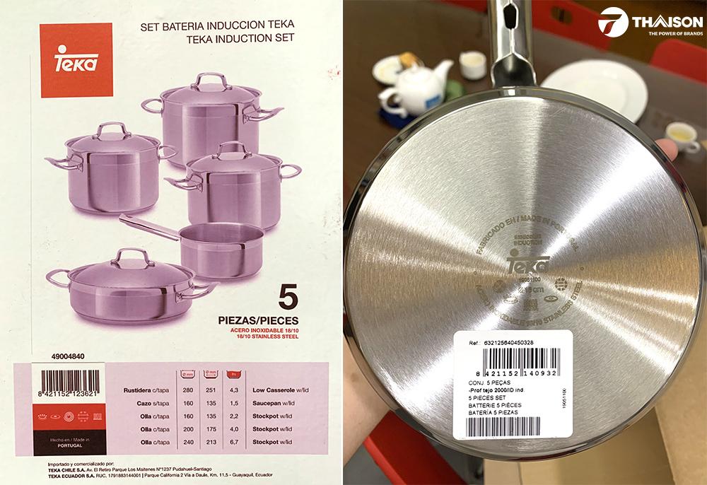 Đáy và vỏ hộp bộ nồi từ 5 món Teka 49004840.