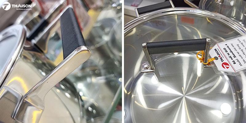Tay cầm thanh lịch bọc silicon cách nhiệt, gắn đinh tán chắc chắn