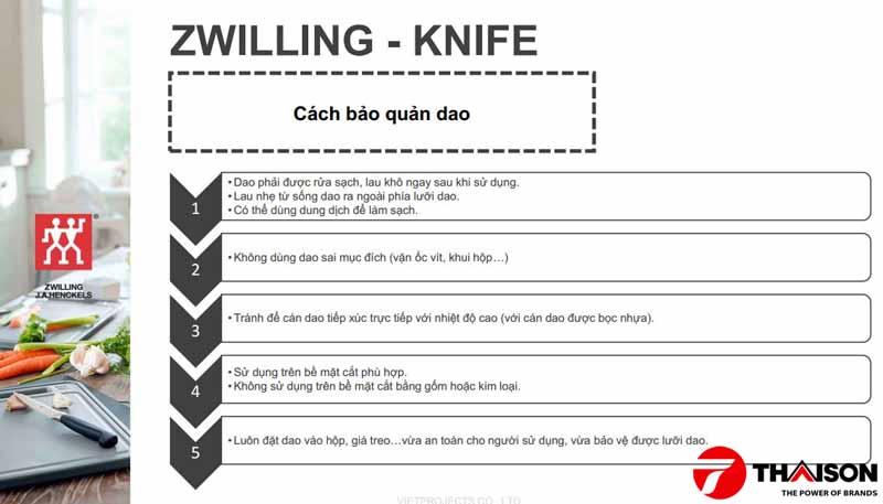 Lưu ý sử dụng và bảo quản dao Zwilling J.A Henckels