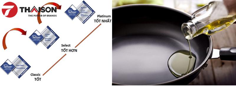 Lớp chống dính Teflon Platinum Plus cao cấp an toàn cho thực phẩm và người dùng