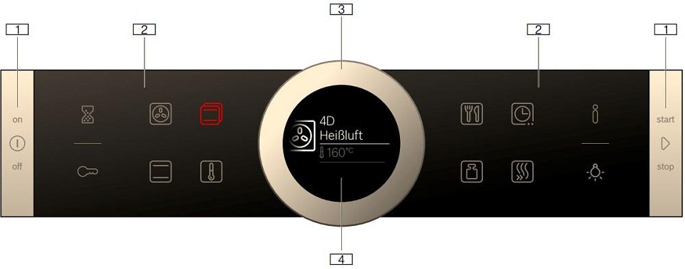 Bảng điều khiển lò nướng Bosch HBG635BB1