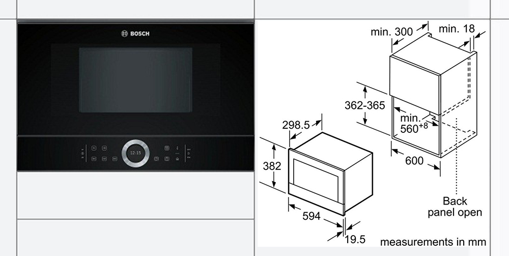 Kích thước lắp đặt lò vi sóng âm tủ Bosch.
