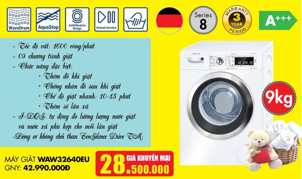 Giá máy giặt Bosch WAW32640EU nhập khẩu.