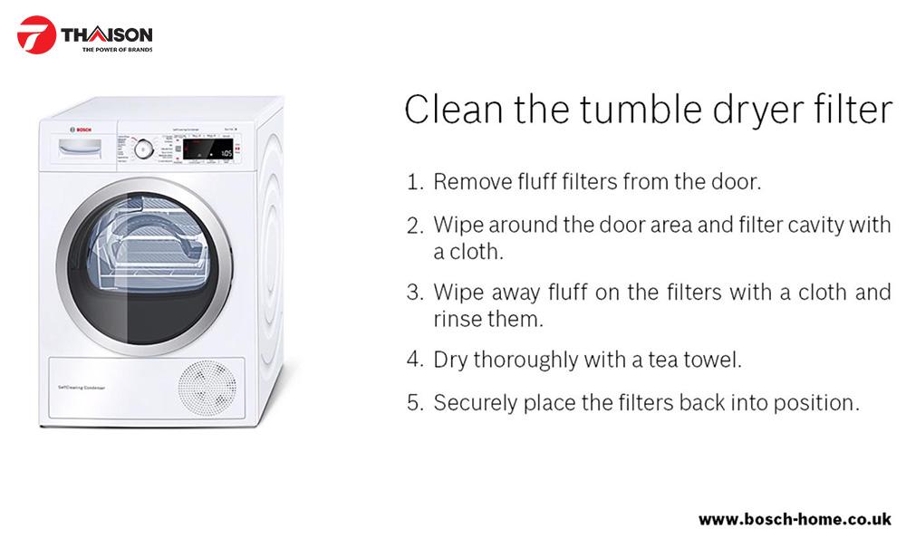 Vệ sinh bộ lọc máy sấy quần áo đúng cách.