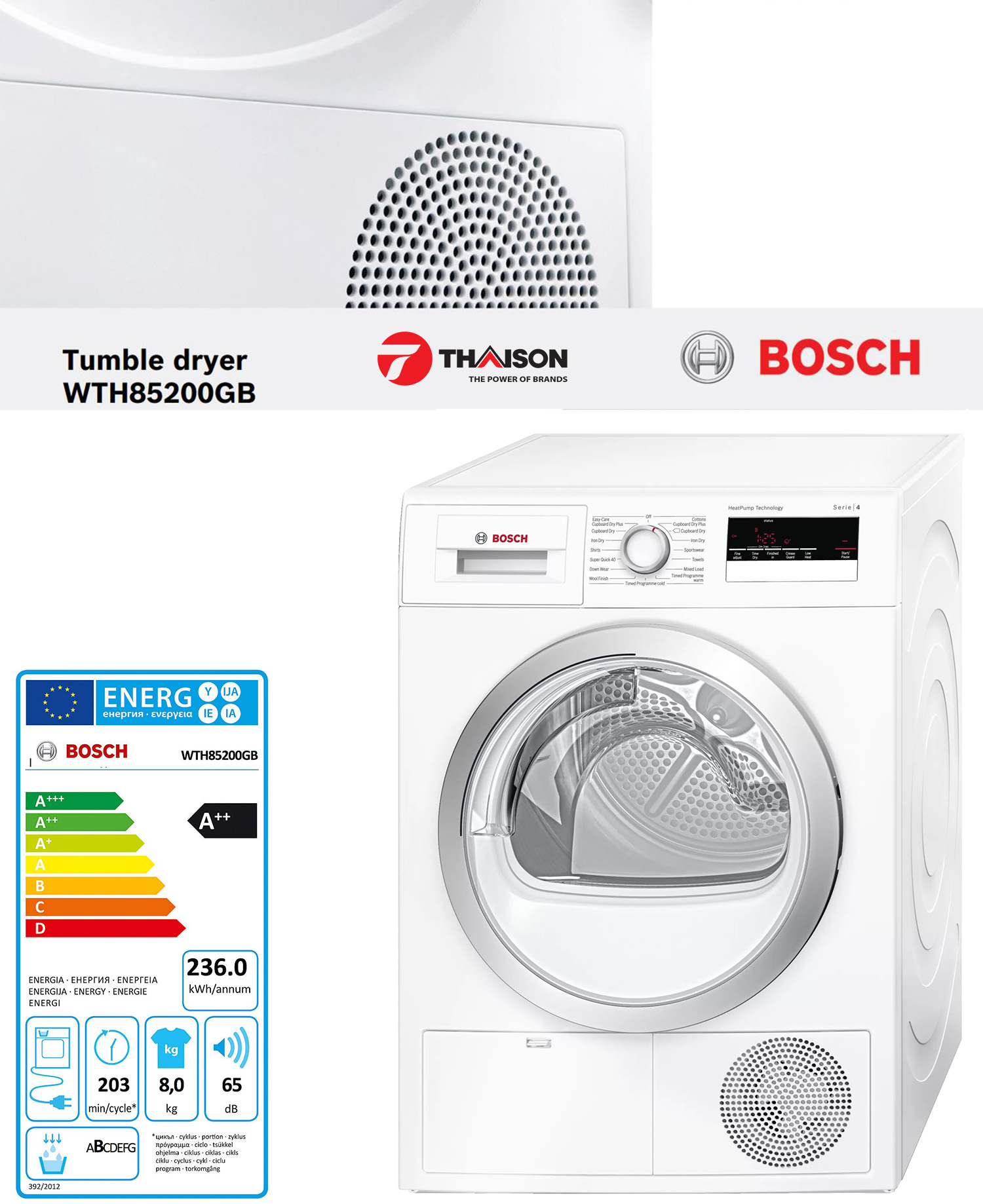 Máy sấy quần áo ngưng tụ Bosch WTH85200GB.