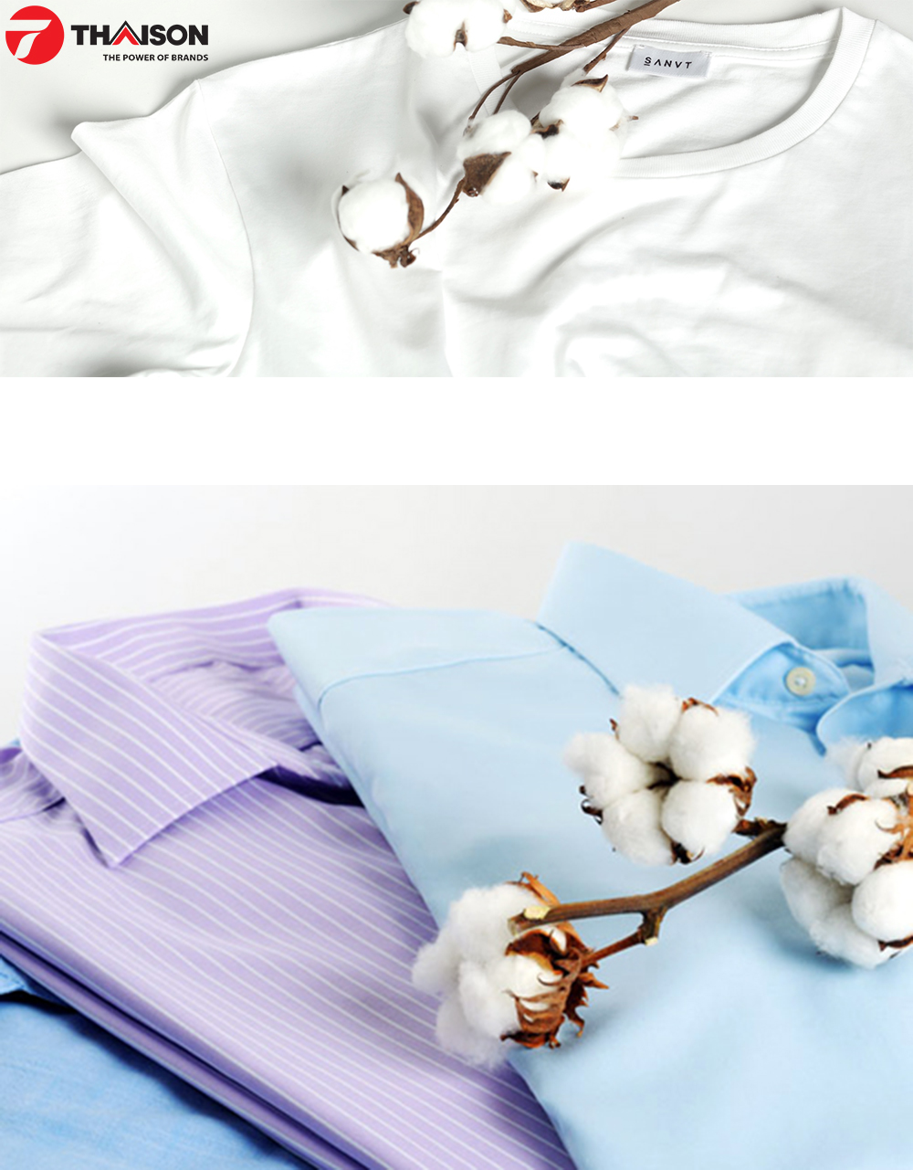Sản phẩm quần áo có chất liệu vải bông – Cottons.