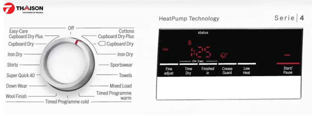 Chương trình và chức năng trên máy sấy quần áo ngưng tụ Bosch WTH85200GB.