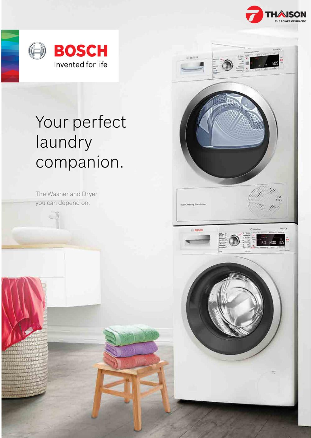 Sự kết hợp hoàn hảo giữa máy sấy và máy giặt Bosch cho gia đình.