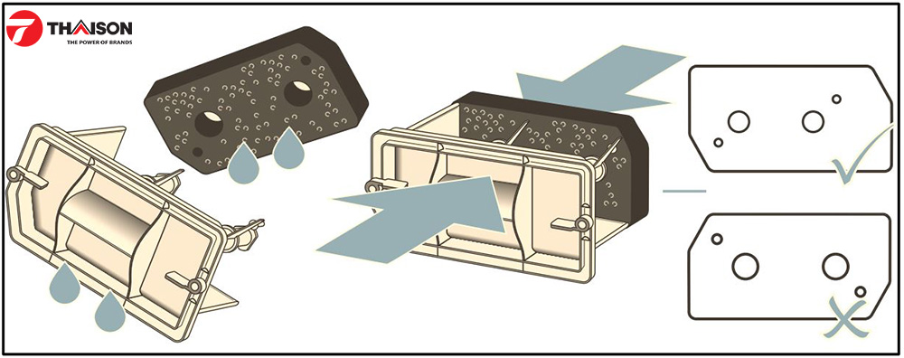 Đặt thảm lọc trở lại ví trí ban đầu của máy sấy quần áo.