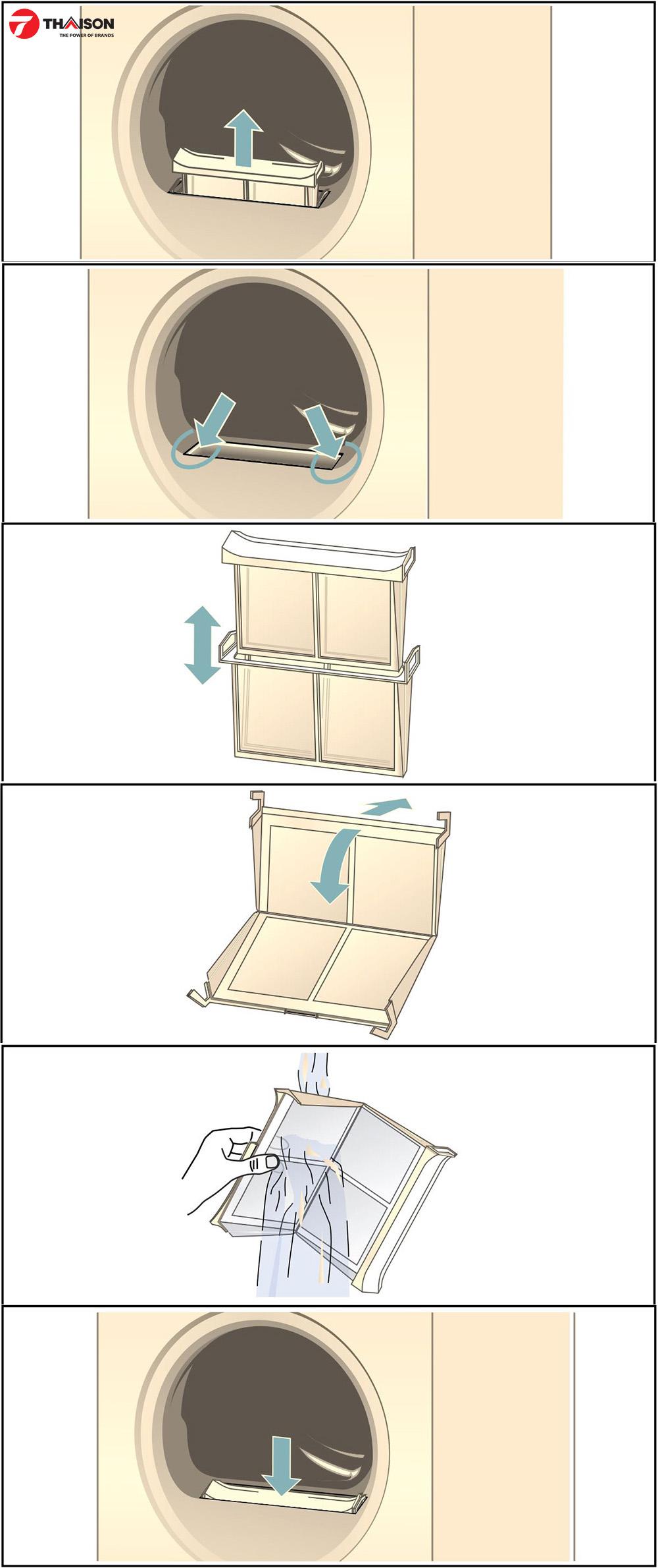 Quy trình làm sạch bộ lọc lông tơ cho máy sấy quần áo.