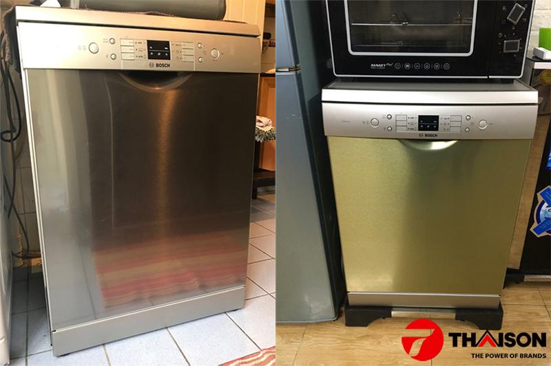Máy rửa bát Bosch SMS63L08EA để độc lập trong không gian bếp.