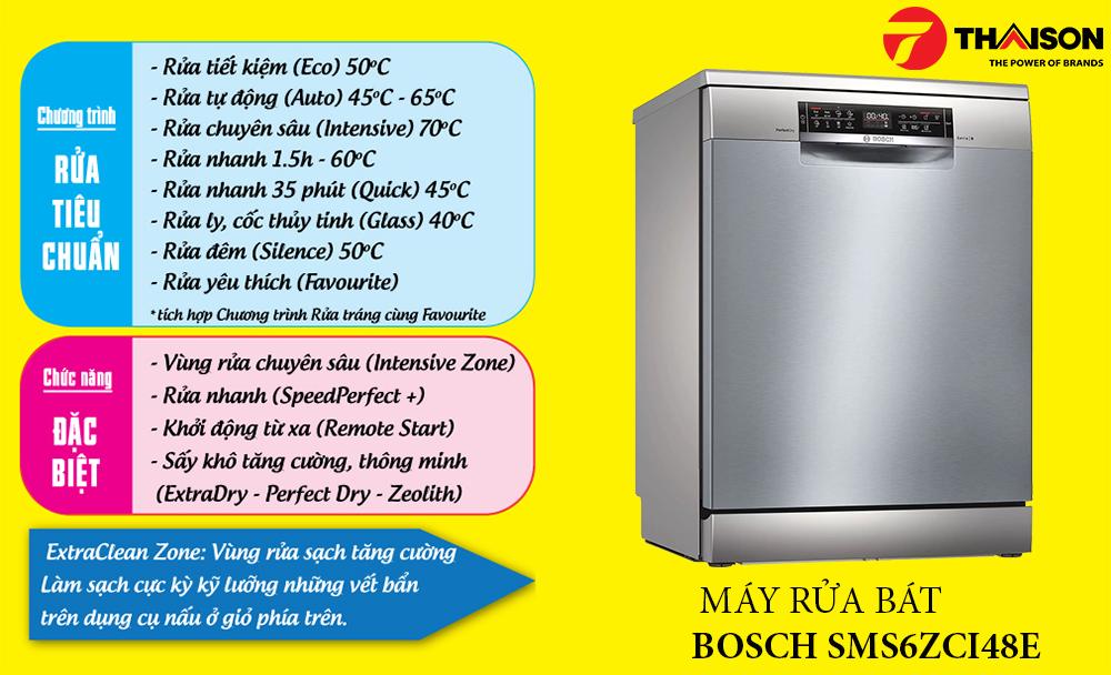 12 chương trình rửa của Bosch SMS6ZCI48E.