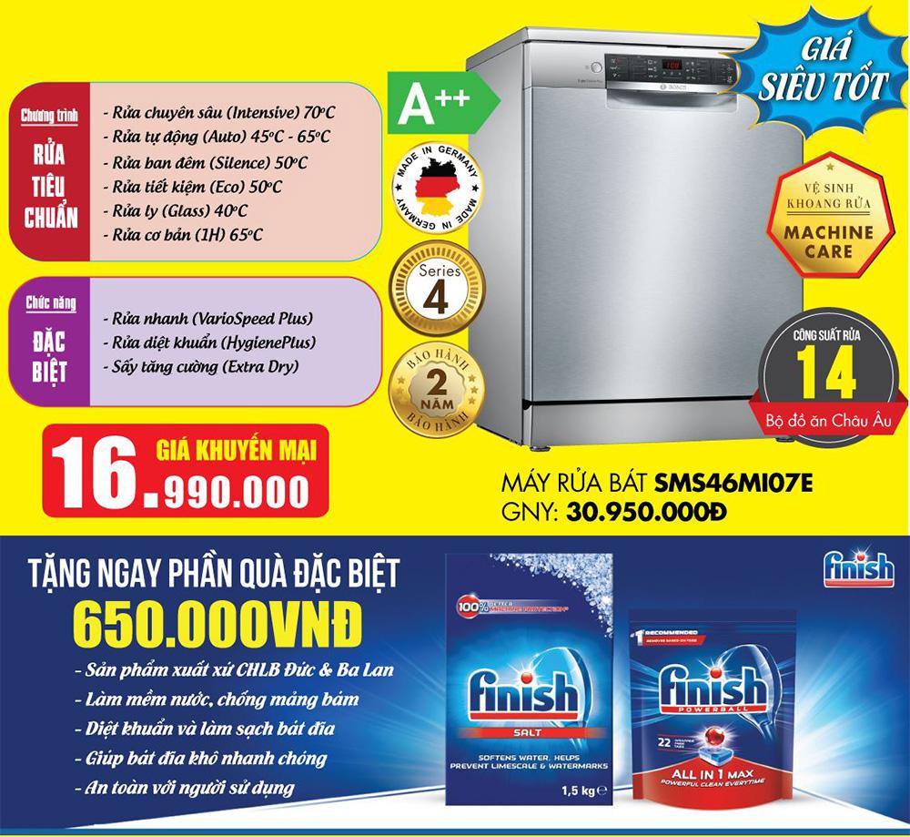 Khuyến mại Máy rửa bát Bosch SMS46MI07E.