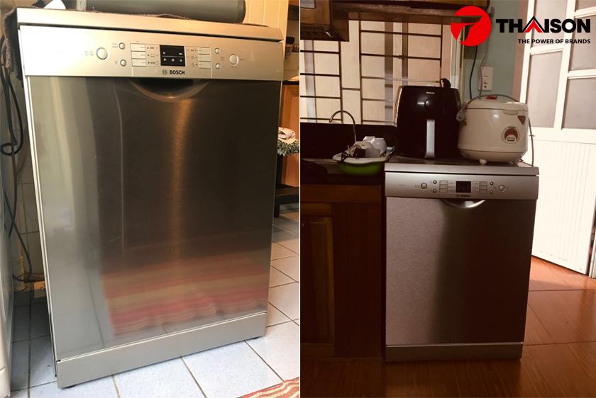 Lắp đặt máy rửa bát Bosch SMS63L08EA tại gia đình.