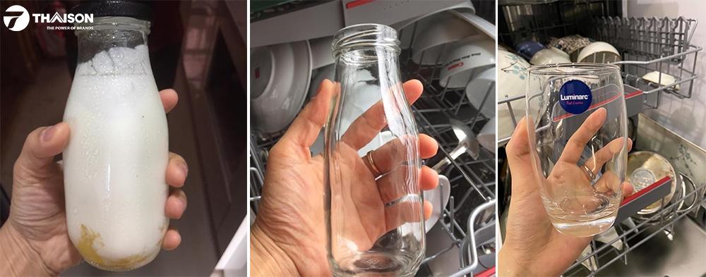 Rửa sạch ly sáng bóng với máy rửa bát