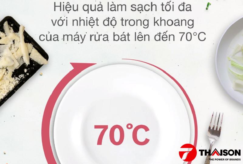 Làm sạch và khử khuẩn hiệu quả với nhiệt độ 70ᵒC.