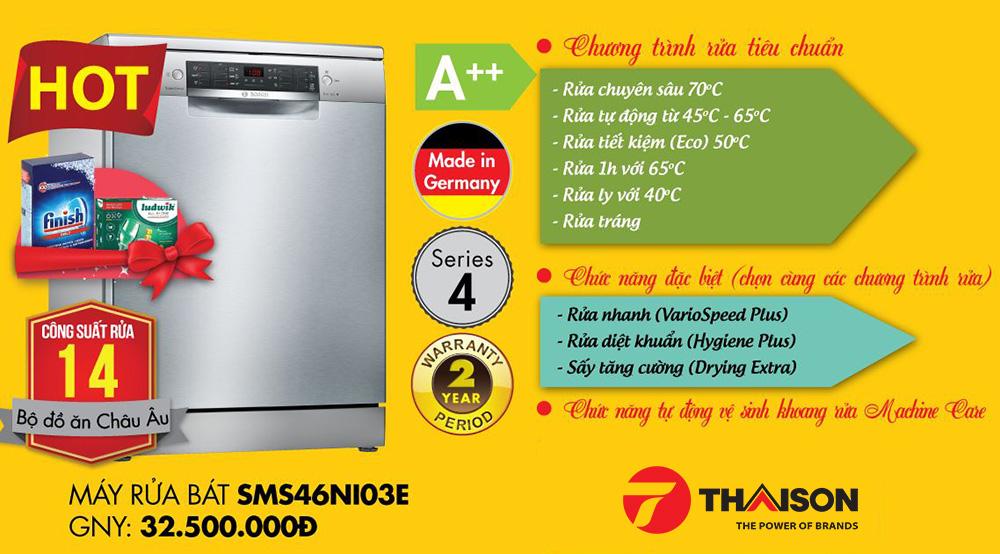 Bosch SMS46NI03E – Mẫu máy rửa bát độc lập Serie 4