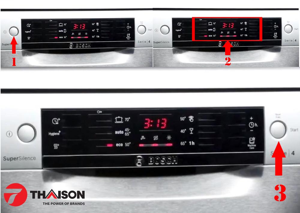 Cài đặt chương trình cơ bản máy rửa bát Bosch SMS46NI05E