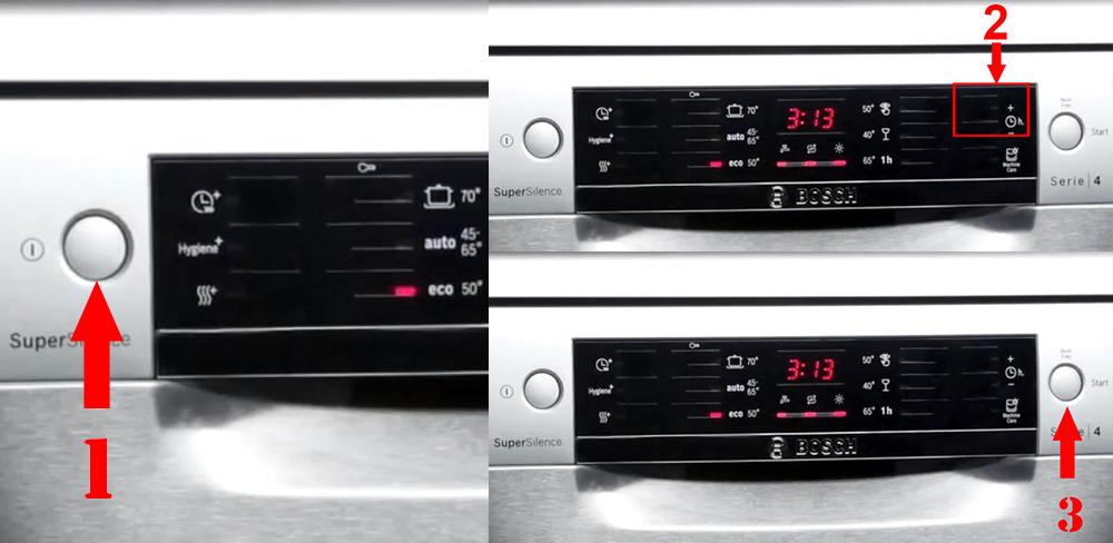 Cài đặt thời gian Bosch SMS46NI05E