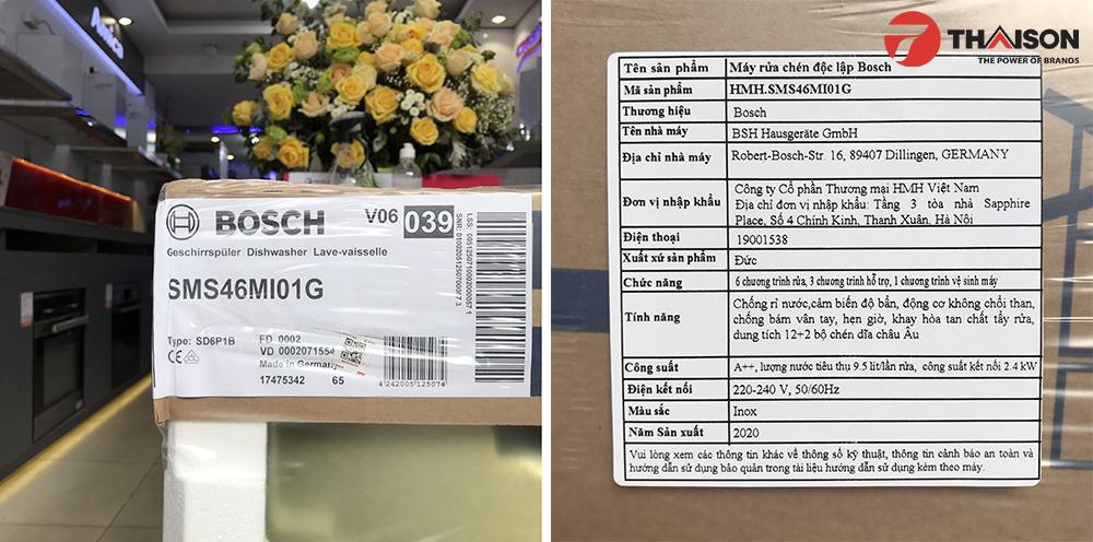 Tem bảo hành Máy rửa bát Bosch SMS46MI01G