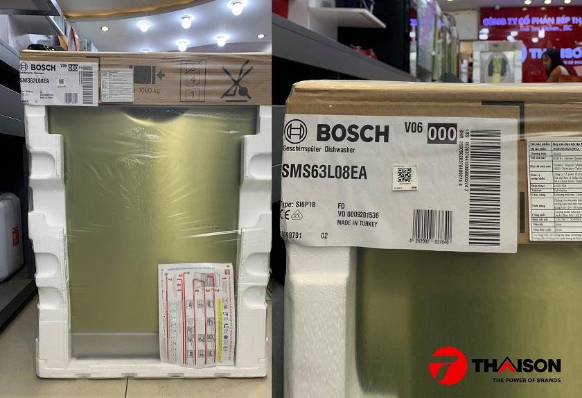 Máy rửa bát Bosch SMS63L08EA được bảo hành bởi HMH.