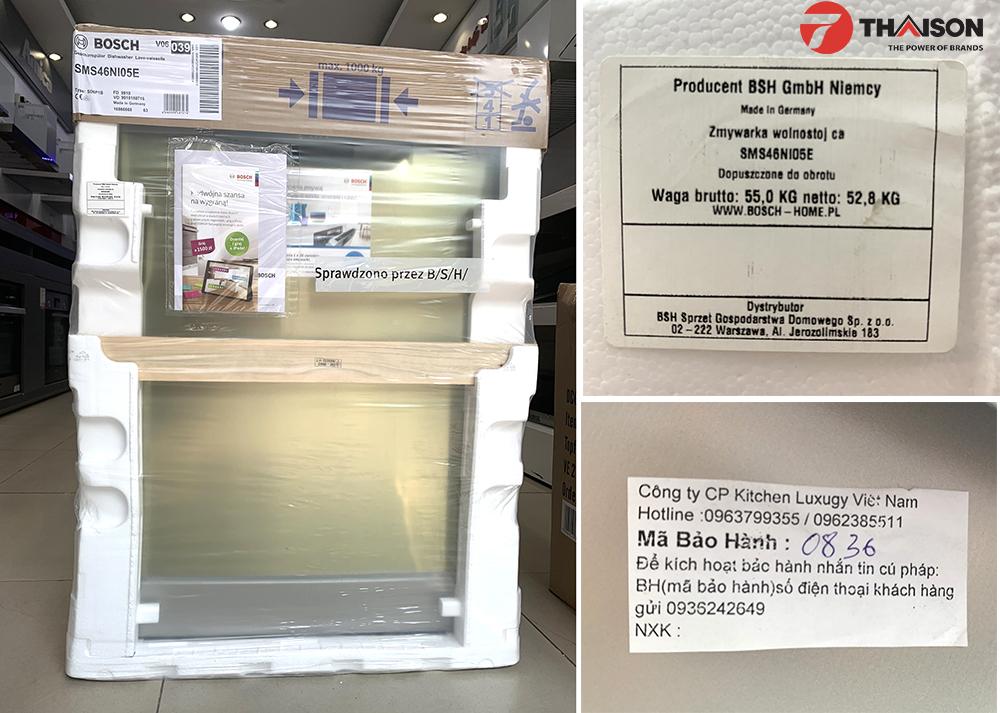 Máy rửa bát Bosch SMS46NI05E nhập khẩu chính hãng.