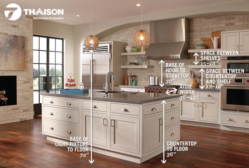 Đo đạc kỹ các kích thước của không gian bếp