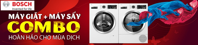 Máy giặt sấy quần áo Bosch diệt khuẩn